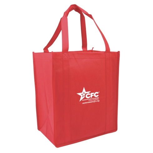 Red with white imprint Atlas Totes for CFC of Eastern Massachusetts.