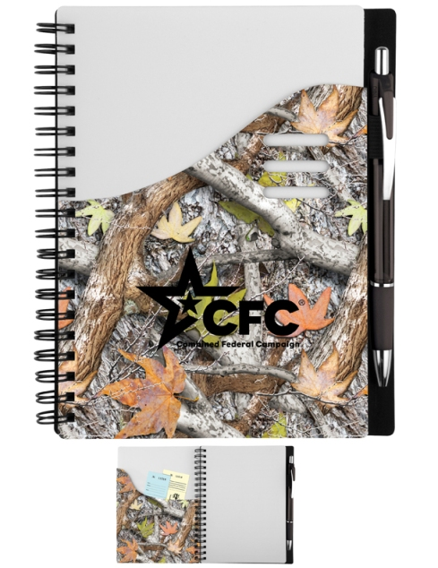 Color Wave Notebook – 2013 discount pricing with one color imprint $2.49 / 200 unit minimum. Can be run with any artwork. Stock colors: Blue, Red, Orange, Pink, Black, Green, Purple, Carolina Blue.