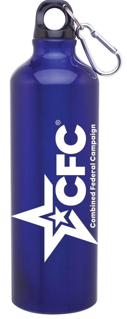 24 oz h2go aluminum single wall water bottle with threaded lid - carabiner included